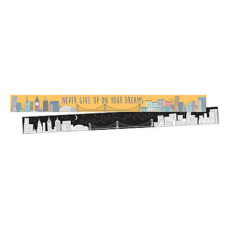 """Barker Creek Double-Sided Border Strips, 3"""" x 35"""", Color Me Cityscape, Set Of 24"""