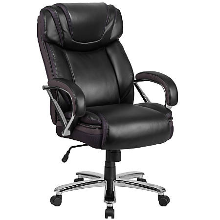 Flash Furniture HERCULES Leather High-Back Big And Tall Ergonomic Office Chair, Black/Gray