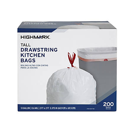 Highmark™ Trash Bags, 13 Gallons, Box Of 200 Bags