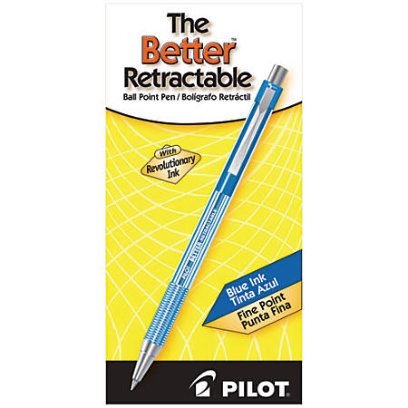 Pilot® Better™ Retractable Ballpoint Pens, Fine Point, 0.7 mm, Translucent Blue Barrel, Blue Ink, Pack Of 12 Pens