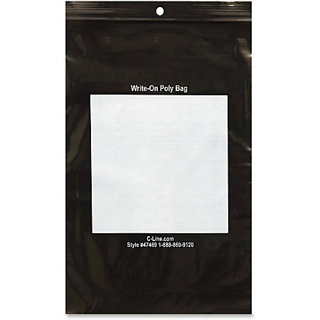 """C-Line Write-On Reclosable Bags - 6"""" Width x 9"""" Length - Black - 1000/Box - Tool, Accessories"""