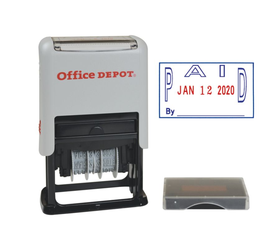 """Office Depot® Brand Date Paid Dater Stamp Self-Inking with Extra Pad Date Paid Dater  Stamp, 1"""" x 1-3/4"""" Impression, Red and Blue Ink 421055"""