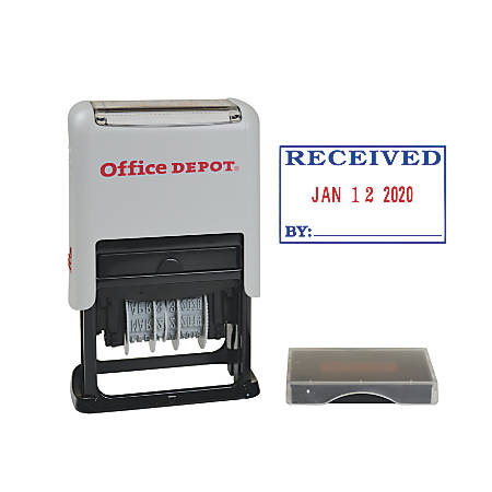 "Office Depot® Received Date Stamp Dater, Self-Inking With Extra Pad, 1"" x 1-3/4"" Impression, Red And Black Ink"