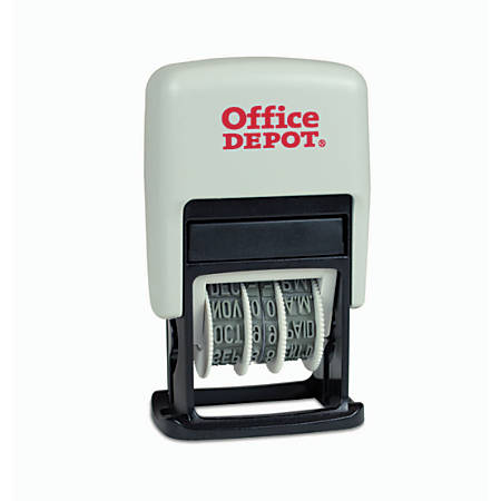 Office Depot® Brand Self-Inking 3-In-1 Micro Dater, Red/Blue