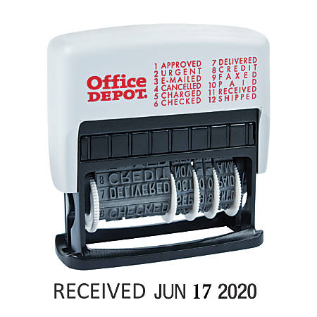 "Office Depot® Brand Message Date Stamp  Dater  Approved, Cancelled, Charged, Checked, Credit, Delivered, Emailed, Faxed, Paid, Received, Shipped, Urgent StampStamp, Self-Inking 12-in-1 Micro Message Date Stamp Dater, 1-7/8"" x 3/16"" impression, Black Ink"