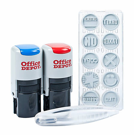 Office Depot® Brand Self-Inking Kit, Office, Blue/Red