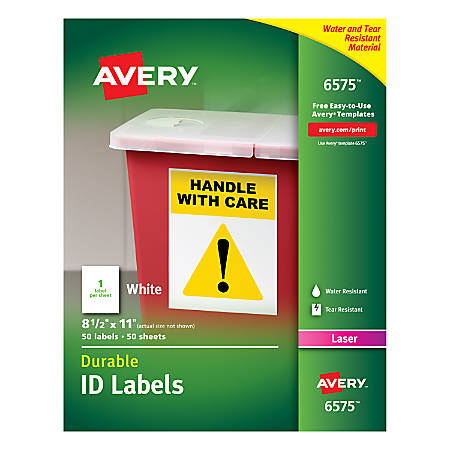 "Avery® Permanent Durable ID Labels With TrueBlock®, 6575, 8 1/2"" x 11"", White, Pack Of 50"