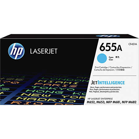HP Original LaserJet Toner Cartridge, Cyan, 655A (CF451A)