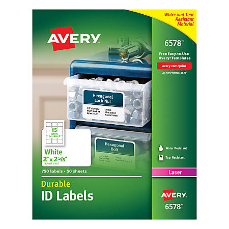 "Avery® Permanent Durable ID Labels With TrueBlock®, 6578, 2"" x 2 5/8"", White, Pack Of 750"
