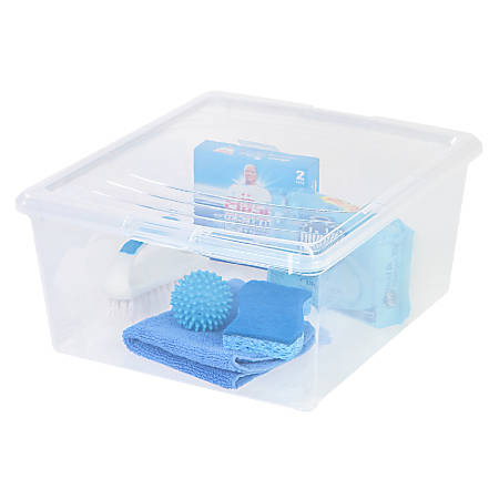 Office Depot® Brand Plastic Storage Boxes, 21 Quart, Clear, Pack Of 2