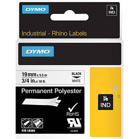 "DYMO® Rhino 18484 Polyester Industrial Black-On-White Label Tape, 0.75"" x 18'"