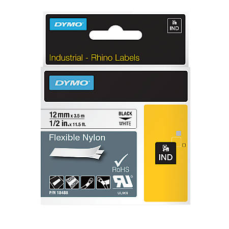 "DYMO® Rhino 18488 Black-On-White Tape, 0.5"" x 11.5'"