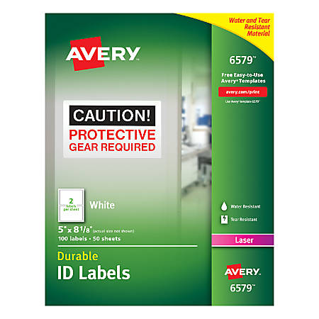 Avery Permanent Durable Id Labels With Trueblock 6579 5 X 8 18 White