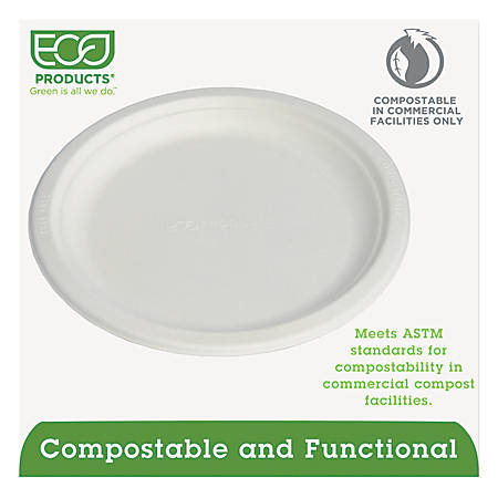 "Eco-Products® Sugarcane Plates, 9"" Diameter, Pack Of 500"