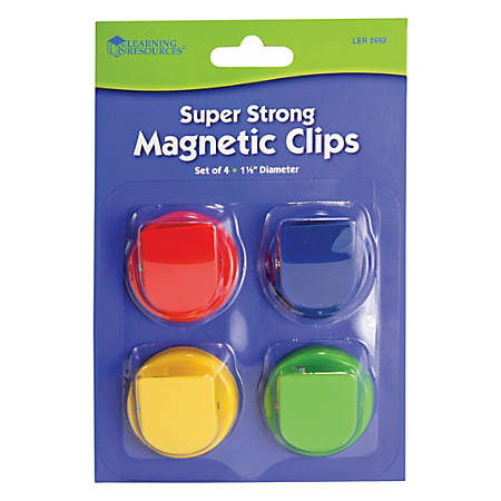 "Learning Resources Super Strong Magnetic Clips Set - 1.5"" Diameter - 50 Sheet Capacity - for Whiteboard, Folder - 4 / Pack - Assorted"