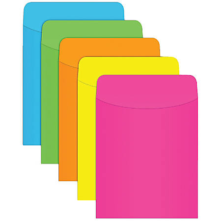 "Top Notch Teacher Products® Neon Pockets, 5 1/2"" x 3 1/2"", Assorted Colors, Pack Of 35, Case Of 5"