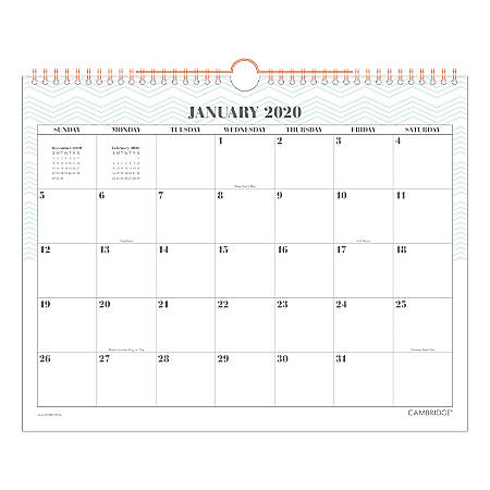 """Cambridge® WorkStyle Monthly Wall Calendar, 15"""" x 12"""", Mint, January To December 2020, W1280-707-46"""