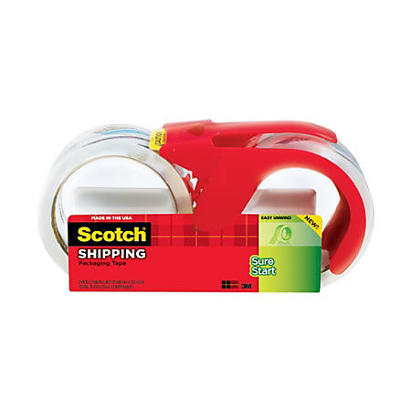 """Scotch® Sure Start Shipping Tape With Dispenser, 1 7/8"""" x 38.2 Yd., Clear, Pack Of 2"""