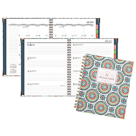 "AT-A-GLANCE® Badge Tile Academic Weekly/Monthly Planner, 6 7/8"" x 8 3/4"", 30% Recycled, Multicolor, July 2018 to June 2019"