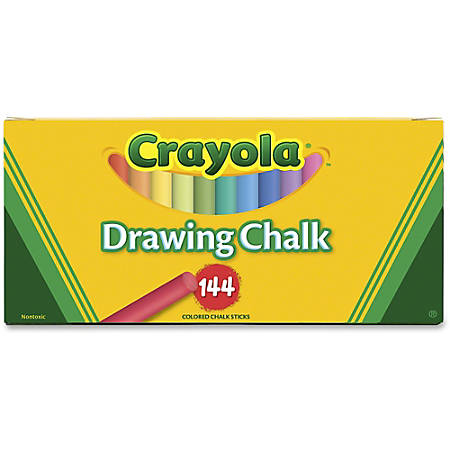 "Crayola Colored Drawing Chalk Sticks - 3.2"" Length - 0.4"" Diameter - Assorted - 144 / Box"