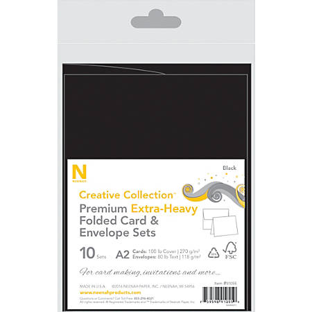 Neenah® Creative Collection™ Card And Envelope Set, A2, Black, FSC® Certified, Set Of 10