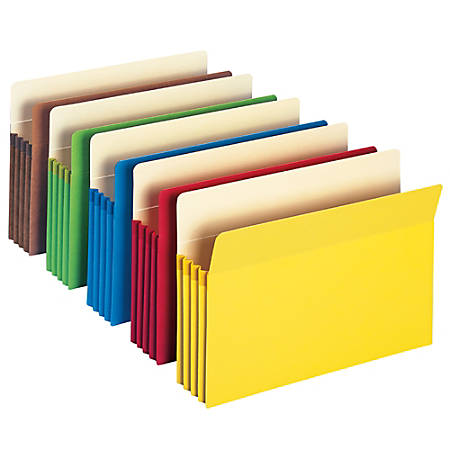 "Smead® Color File Pockets, 3 1/2"" Expansion, 9 1/2"" x 14 3/4"", Assorted Colors, Pack Of 5"