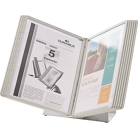 "Durable Desk Reference System With 10 Display Sleeves, 8 1/2"" x 11"", Gray"