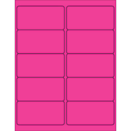 "Office Depot® Brand Labels, LL178PK, Rectangle, 4"" x 2"", Fluorescent Pink, Case Of 1,000"
