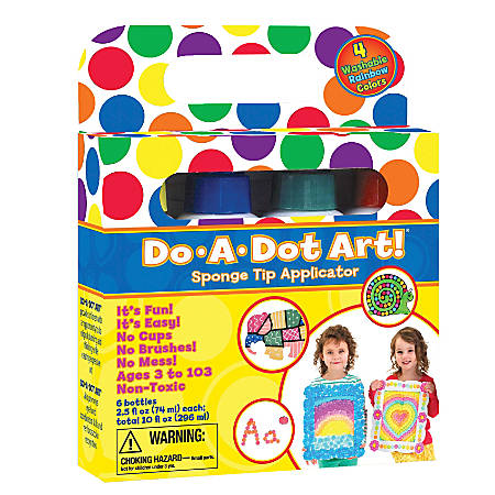 Do-A-Dot Art! Rainbow Washable Sponge Tip Markers, Assorted Colors Pack Of 4