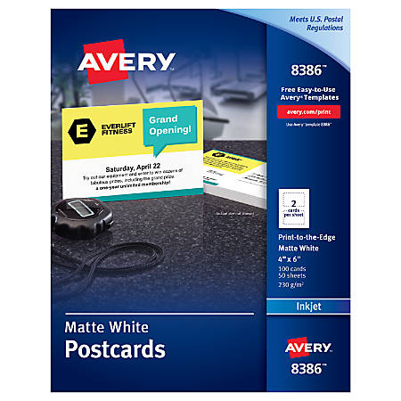 "Avery® Inkjet Print-to-the-Edge Postcards, 4"" x 6"", White, Box Of 100"