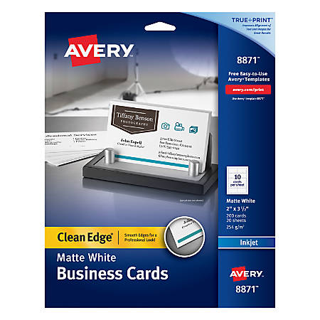 Avery Inkjet Clean Edge Two Side Printable Business Cards Sided - Avery template business cards