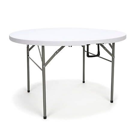 """Essentials By OFM Center-Folding Utility Table, Round, 48""""W x 48""""D, White/Silver"""