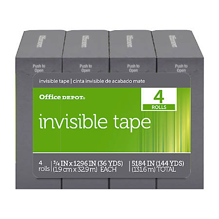 """Office Depot® Brand Invisible Tape, 3/4"""" x 1,296"""", Pack Of 4 Rolls"""