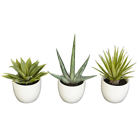 "Nearly Natural 8-1/2""H Polyester 3-Piece Southwest Agave Collection, Green"