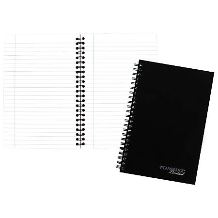 "Cambridge® Limited® 30% Recycled Business Notebook, 4 7/8"" x 8"", 1 Subject, Legal Ruled, 80 Sheets, Black (06074)"