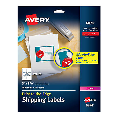 "Avery® Print-To-The-Edge Permanent Laser Shipping Labels, 6874, 3"" x 3 3/4"", White, Pack Of 150"