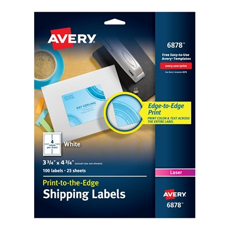 Avery print to the edge permanent laser shipping labels 6878 3 34 x avery print to the edge permanent laser shipping labels 6878 3 34 x 4 34 white pack of 100 by office depot officemax reheart Gallery