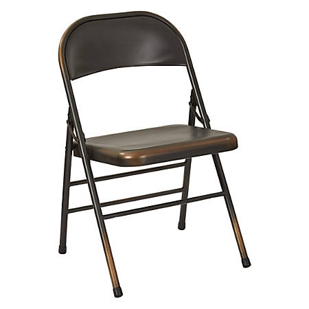 Office Star™ Bristow Steel Folding Chairs, Antique Copper Distressed, Set Of 2 Chairs