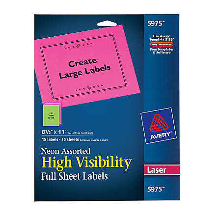Avery Color Permanent Laser Full Sheet Labels 5975 8 12 X 11