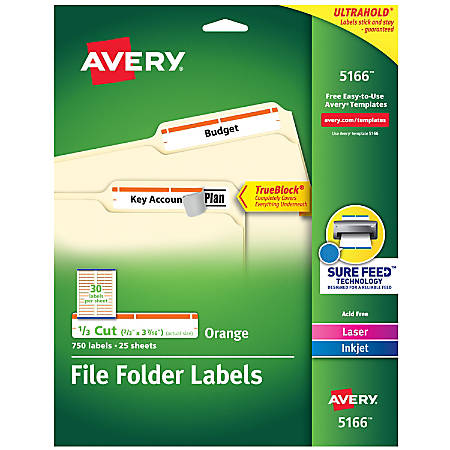 "Avery® TrueBlock® Permanent Inkjet/Laser File Folder Labels, 5166, 9/16"" x 3 7/16"", Orange, Box Of 750"