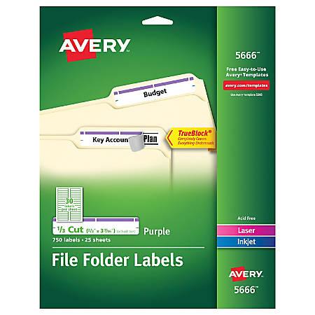 """Avery® TrueBlock® Permanent Inkjet/Laser File Folder Labels, 5666, 9/16"""" x 3 7/16"""", Purple, Box Of 750"""