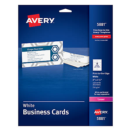 """Avery® Print-to-the-Edge Laser Microperforated Business Cards, 2"""" x 3 1/2"""", White, Pack Of 160"""