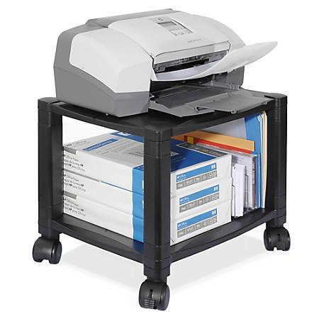 """Kantek 2-Shelf Mobile Printer/Fax Stand, 11 7/8""""-14 1/8""""H x 17""""W x 13 1/4""""D, Black"""