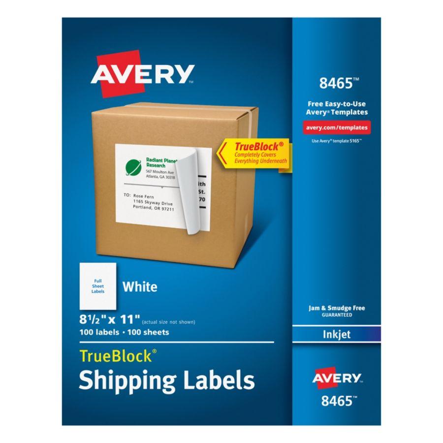 Avery Permanent Full Sheet Labels 8465 Inkjet 8 12 X 11 White Box Of
