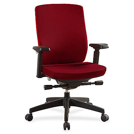 Lorell® Multifunction Mid-Back Chair, Fabric, Red