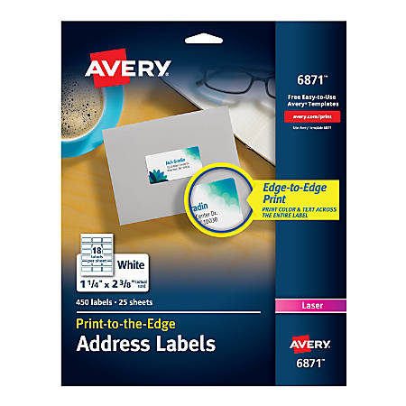 """Avery® Print-To-The-Edge Permanent Address Laser Labels, 6871, 1 1/4"""" x 2 3/8"""", White, Pack Of 450"""