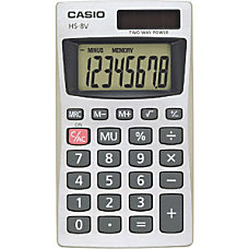 Casio Pocket Calculator 8 Digits BatterySolar