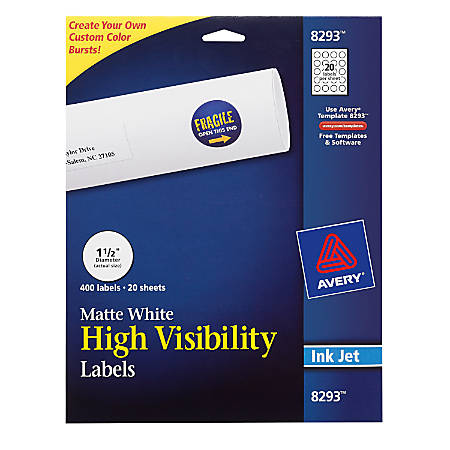 "Avery® Permanent High-Visibility Labels, 8293, Round, 1 1/2"" Diameter, White, Pack Of 400"