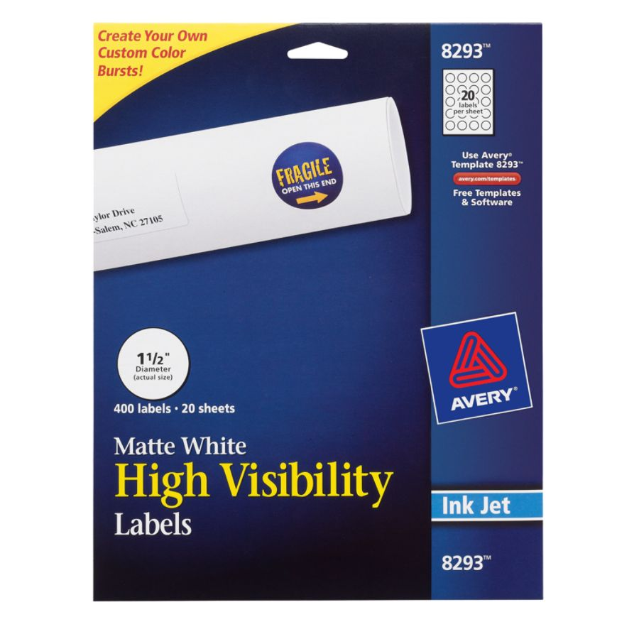 Avery permanent high visibility labels 8293 round 1 12 diameter white pack of 400 by office depot officemax
