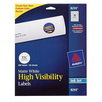 avery permanent high visibility labels 8293 round 1 12 diameter